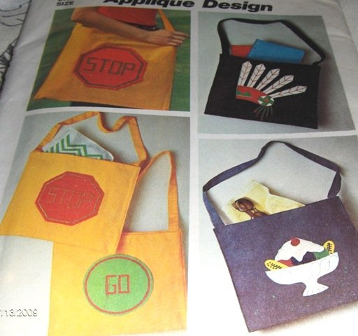 """Tote Bag with transfers for appliques and cross stitch sewing pattern Simplicity 6488 14"""" x 16"""""""