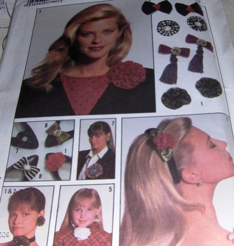 Hair Bows, Shoe Boes, Flower Pins, Chokers and Jewelry Simplicity 8893 Sewing Pattern