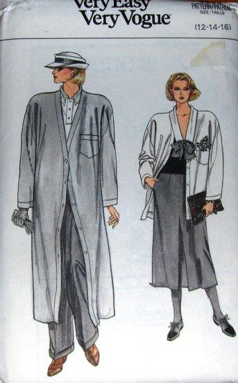 Misses Loose Fitting Coat Jacket Skirt Pants Vogue 9201 Size 12 14 16