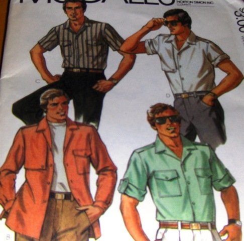 Men's Shirt Sewing pattern McCall's no. 7905 Buttoned Shirt Short or Long Sleeve size 44