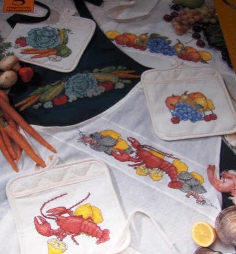 Aprons Pot Holders Cross stitch Pattern fruits vegetables seafood