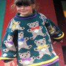 Teddy Bear Sweater Knitting Pattern sizes for child 3 to 8 Graph pattern by Cynthia Helene Range