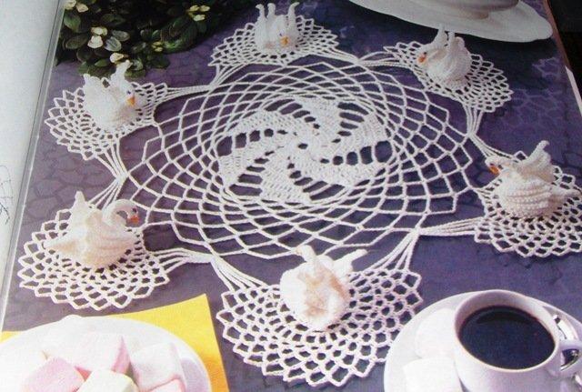 Free Crochet Swan Doily Pattern : Magic Crochet No. 76 crocheting pattern magazine Feb 1992 ...