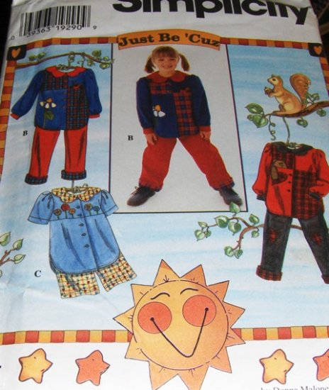 Simplicity Sewing Pattern 7277 Childs pants, shorts and top sets Just Be Cuz Size 5,6,7,8