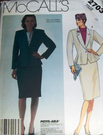 McCall's Sewing Pattern  2703 Womens Misses Classic Suit Jacket and Skirt  size 10
