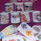 coffee mugs Cross Stitch Pattern inserts by Sam Hawkins American School of Needlework