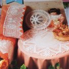 Annie's Attic Crochet Pattern Lace Doily Hat Pillow Case Edging Peaches & Cream Rose Filet Crochet
