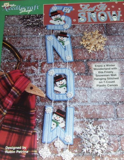 Plastic Canvas Pattern Winter Wonderland Snow Man Let it Snow Wall Hanging