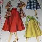 Vintage gored skirt pattern with stole Simplicity 1462 Size 28 inch waist 1955