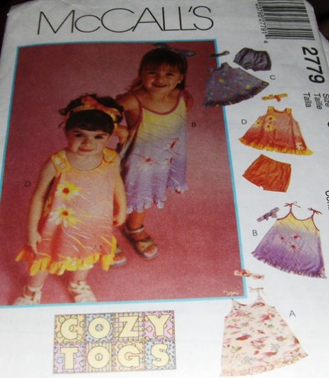 Toddler's  Summer Dress, Bloomers and Headband Sewing Pattern McCall's 2779 Size 1, 2, 3