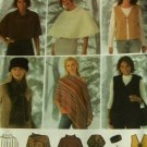 Sewing Pattern Ponchos Vest Scarf Head Band Bag Simplicity 4781BB L-XL
