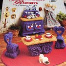 Annie's Attic Fashion Doll Home Decor Crochet Pattern BREAKFAST ROOM  VIII Table Hutch Rug Planters