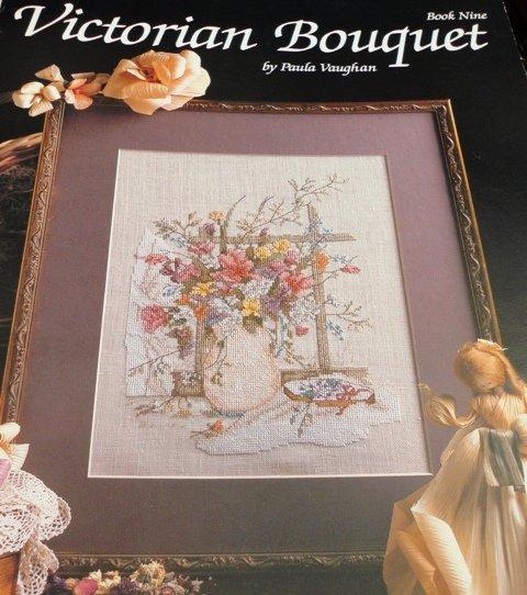 Paula Vaughan Cross stitch pattern Victorian Bouquet Book Nine Leisure Arts 521