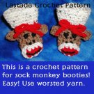Sock Monkey Baby Booties Crochet Pattern Instructions by LaStade