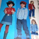 McCall's 3742 Sewing Pattern Child's Western Cowboy Style Shirt, Jeans Skirt, Top Size 4 5 6