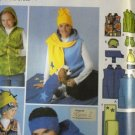 Simplicity Fleece Sewing Pattern for Vest Hats Scarves Scarf Headbands