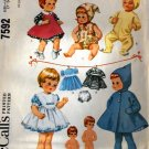 "McCall's 7592 Vintage doll clothes Sewing Pattern for Tiny Tears 17"" doll"