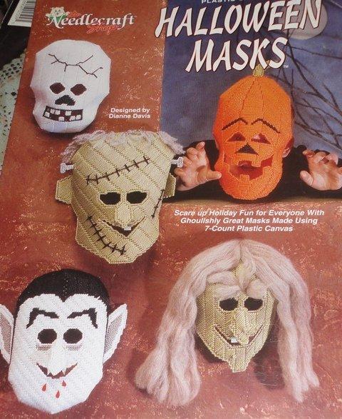 Plastic Canvas Halloween Masks Pattern Vampire, Skeleton, Frankenstein Monsters