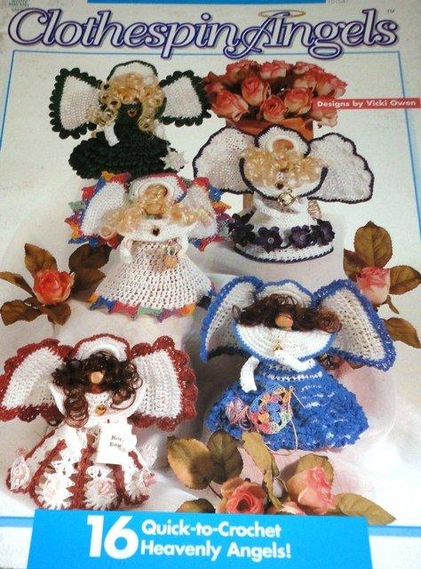 Angel Crochet Pattern Clothespin Angels Book 16 designs by Vicki Owens crochet pattern
