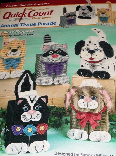 Puppy Kitty Tissue Covers Animal Plastic Canvas patterns Skunk, Dog, Cat, Raccoon, Bunny Rabbit