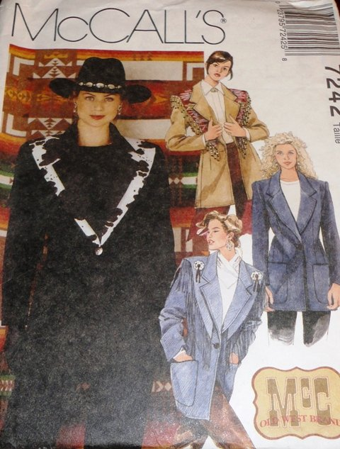 Western Jacket with Fringed Shawl  Sewing Pattern McCall's 7242 Size 16, 18, 20