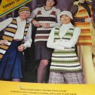 Retro 70's Fanny Sweater Vests Columbia Minerva Leaflet 2583 Knitting and Crochet Pattern