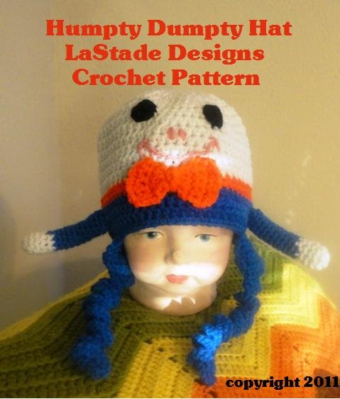 Humpty Dumpty Beanie Hat PDF Crochet Pattern Child by LaStade Designs Size