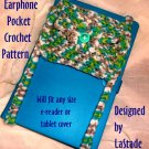 PDF Crochet Pattern Earphone Storage Pocket for E-reader and Tablet Covers