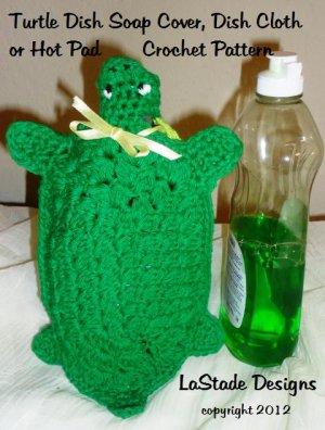 Turtle Dish Soap Bottle Cover PDF Crochet Pattern Dish Cloth Hot Pad Pot Holder