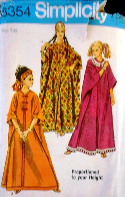 Simplicity 8354 Sewing Pattern 1969 Misses' Caftan ...