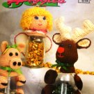 Annie's Attic Jar Huggies Crochet Pattern Gift Jars with Animals and Dolls