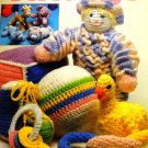 Needlecraft Shop Crochet Pattern Baby's First Toys, Ducky, Clown, Shoe, Ball, Keys