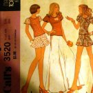 McCall's 3520 Bell Bottoms Sewing Pattern 1973 Young Junior/Teen Top Skirt flared elephant leg pants