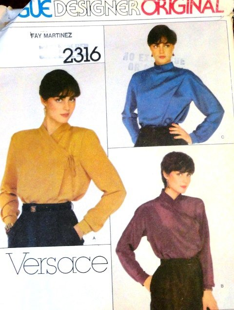 Gianni Versace Vogue Sewing Pattern Designers Original 2316 3 styles of blouses