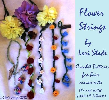 Flower Strings Hair Ornaments Crochet Pattern Instructions 6 flower and 4 stem designs