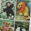 Stuffed Animals Vintage Sewing Pattern 8226 Puppy, Monkey, Lion, Bear