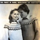 Mary Maxim Ski Sweater Fair Isle Knitting Pattern  8295-96 Graph Style