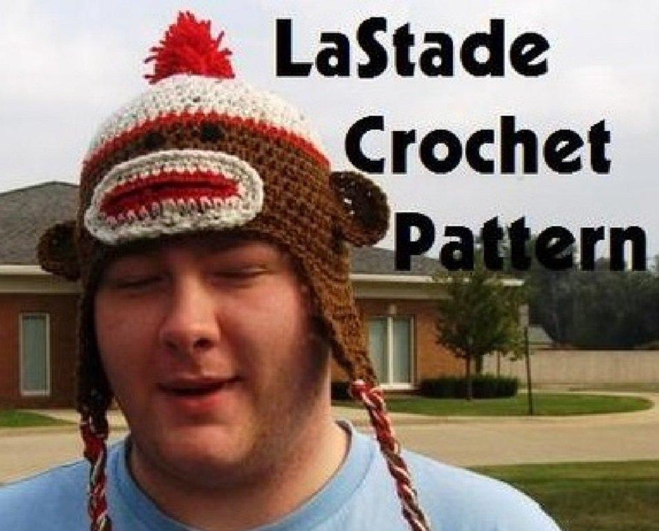 Sock Monkey Hat Crochet Instructions Pattern Ear Flaps Teen Adult size LaStade-Designs PDF Pattern