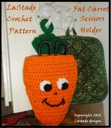 Fat Carrot Kitchen Scissors Holder PDF Crochet Instructions Pattern LaStade Designs