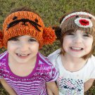 PDF Knitting Pattern Pom-Pom Animal Headwarmers Lion, Tiger Cat, Panda, Sock Monkey, Mouse