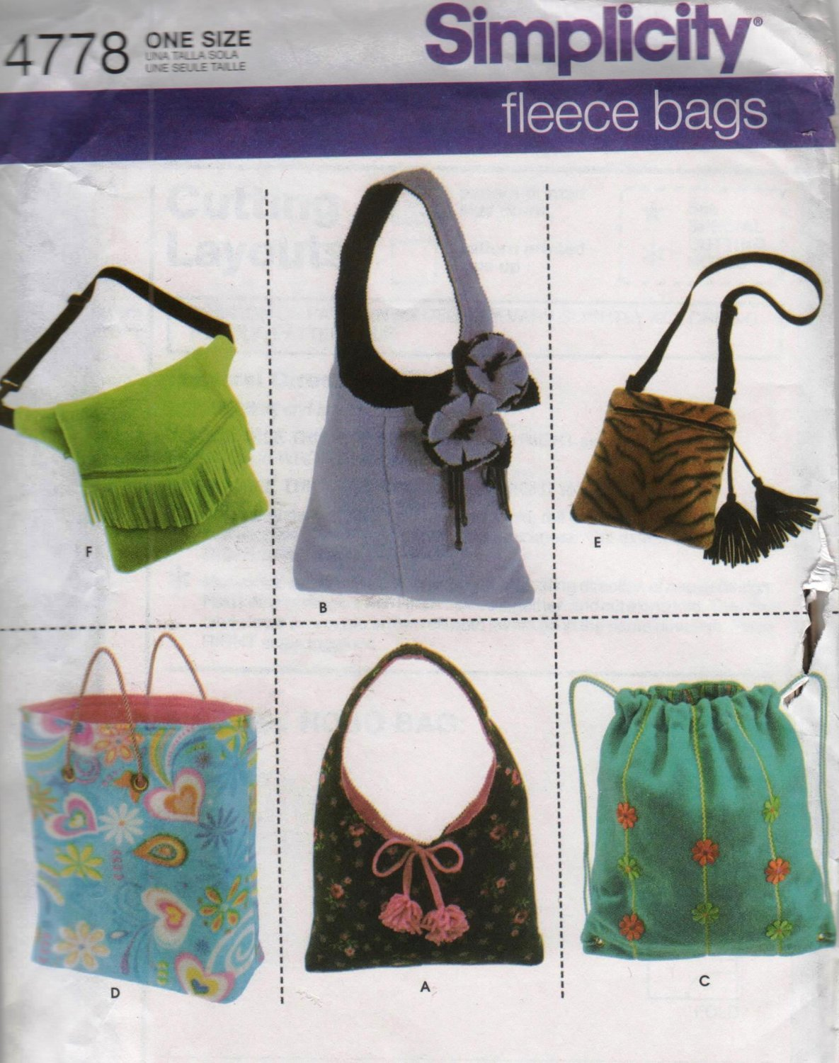 Simplicity 4778 Fleece Bags Purses Totes Sewing pattern