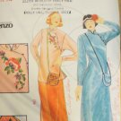 Butterick 4530 Uncut 1970s Kenzo Takada Cheongsam Maxi Tunic & Pants Purse Pattern Bust 36