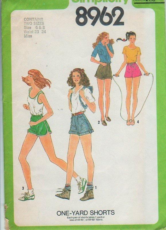"Simplicity Patterns 8962 Size 6 - 8 Waist 23"" 24"" Miss One Yard Shorts Vintage"