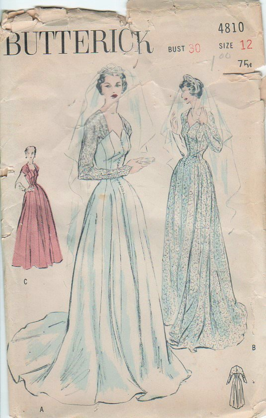 """Princess Wedding Gown Sewing Pattern Butterick 4810 vintage from 1950's Size 12 bust 30"""""""