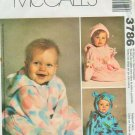 McCall's 3786 teddy bear hat, hats baby bunting fleece sewing pattern