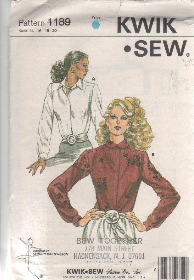 Kwik - Sew 1189 Misses' Blouse Shirt Sewing Pattern Size 14-20