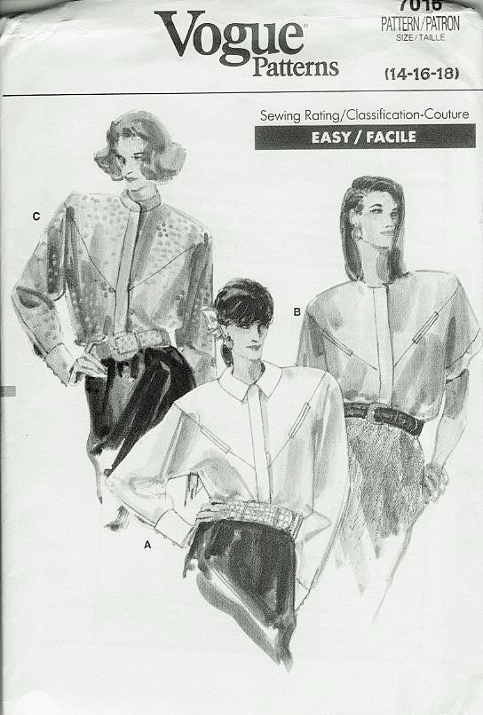 Vogue 7016 Misses Blouse Shirt sewing pattern sizes 14 16 18