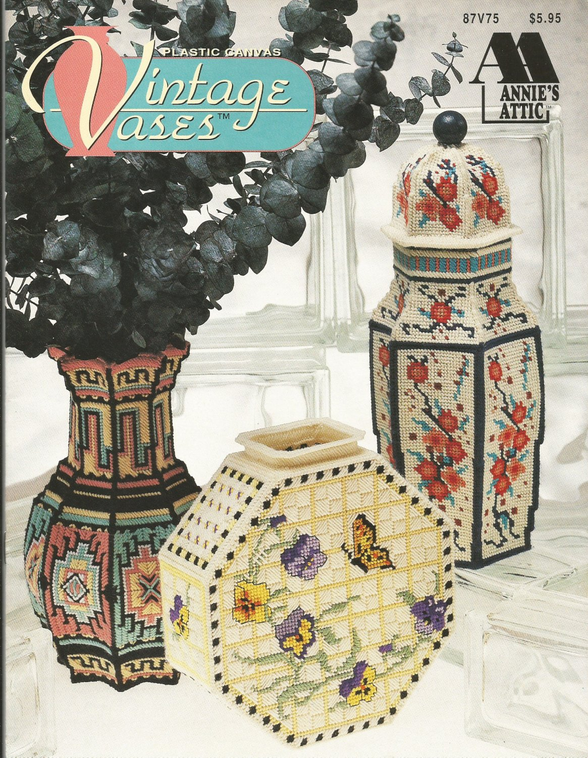 vintage vases in plastic canvas pattern by annie s attic