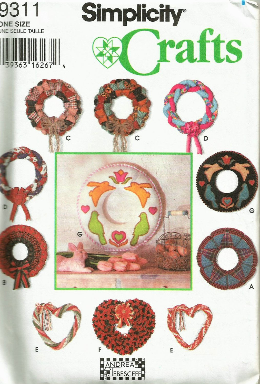 Simplicity 9311 Classic Holiday Wreaths Sewing Pattern Christmas