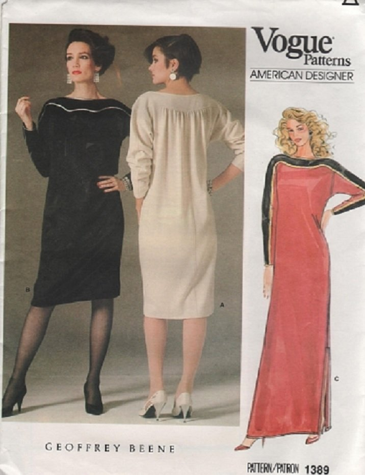 VOGUE 1389 American Designer GEOFFREY BEENE Dress Caftan Sewing Pattern Size 14
